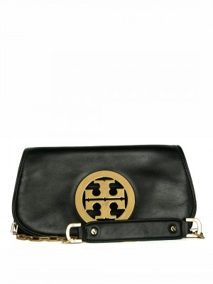 TORY BURCH Amanda Logo Clutch – Black