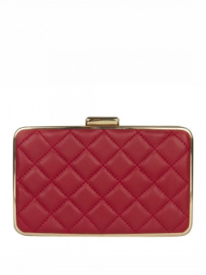 MICHAEL Michael Kors Elsie Quilted Box Clutch – Dark Red