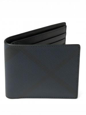BURBERRY London Check International Bifold Wallet - Navy & Black