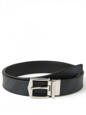 "BURBERRY Reversible London Check and Leather Belt - Navy / Black - 90 cm - 36"" Waist"