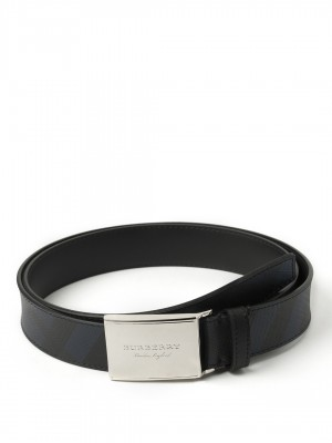 "BURBERRY Plaque Buckle London Check and Leather Belt - Navy & Black - 100 cm - 40"" Waist"