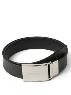 "BURBERRY Reversible London Check and Leather Plaque Belt - Chocolate & Black - 110 cm - 44"" Waist"