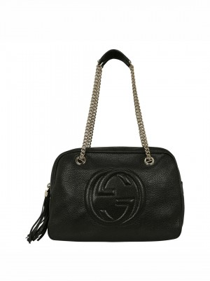 GUCCI Pebbled Calfskin Medium Soho Chain Shoulder Bag - Black