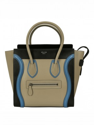 CELINE Multicolor Baby Grained Calfskin Micro Luggage Handbag - Beige / Blue