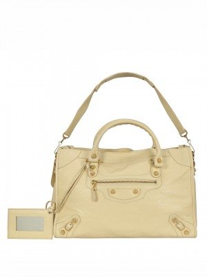 BALENCIAGA Giant 12 Gold City Tote Bag - Off white