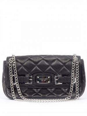 MICHAEL Michael Kors Hamilton Quilted Leather Flap Shoulder Bag - Black