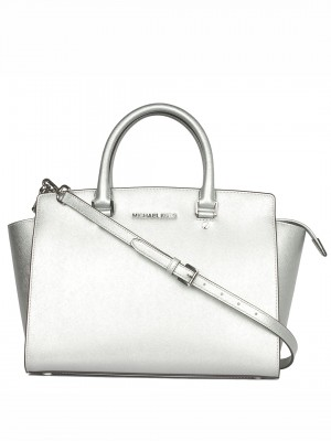 MICHAEL Michael Kors Selma Large Saffiano Leather Satchel - Silver
