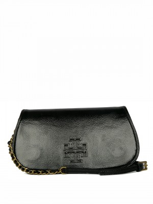 TORY BURCH Britten Patent Clutch – Black