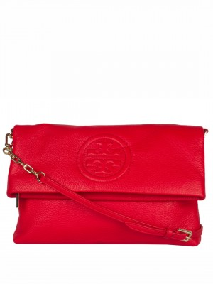 TORY BURCH Bombe Leather Fold over Clutch – Red