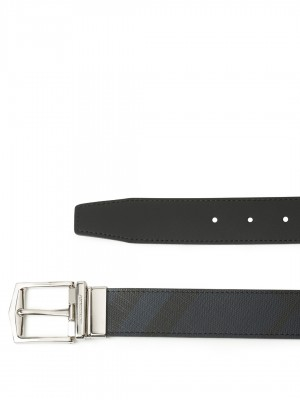 "BURBERRY Reversible London Check and Leather Belt - Navy / Black - 85 cm - 34"" Waist"