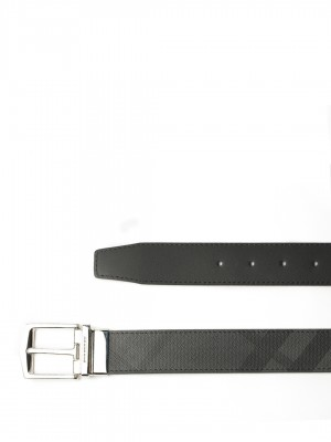 "BURBERRY Reversible London Check and Leather Belt - Charcoal / Black - 90 cm - 36"" Waist"