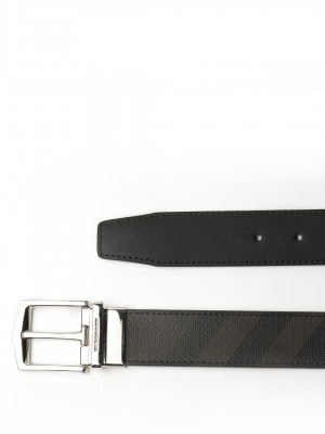 "BURBERRY Reversible London Check and Leather Belt - Chocolate / Black - 95 cm - 38"" Waist"