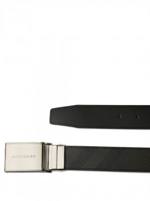 "BURBERRY Reversible London Check and Leather Plaque Belt - Chocolate & Black - 100 cm - 40"" Waist"
