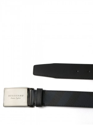 "BURBERRY Plaque Buckle London Check and Leather Belt - Navy & Black - 110 cm - 44"" Waist"