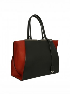 FENDI 3 Jours Shopper Tote Bag - Black / Red