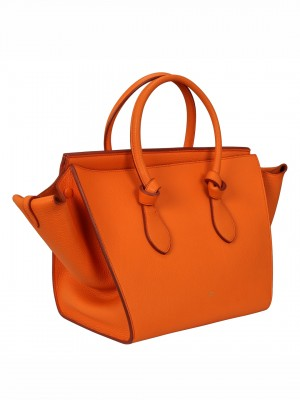 CELINE Tie Knot Tote Leather Satchel - Bright Orange