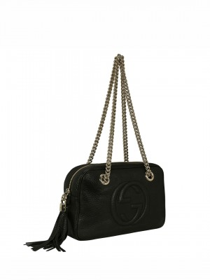 GUCCI Pebbled Calfskin Small Soho Chain Shoulder Bag - Black