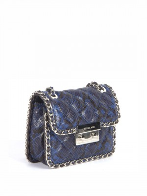 MICHAEL Michael Kors Natural Carine Medium Quilted Snake-Embossed Leather Shoulder Bag - Blue