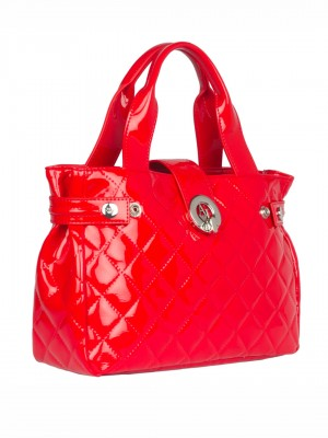 ARMANI JEANS Quilted Patent Tote Handbag - Red (Rosso)