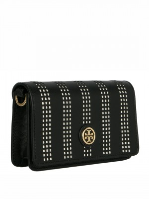 TORY BURCH Robinson Perforated Saffiano Adjustable Shoulder Bag - Black